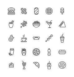 set simple fast food icon vector image
