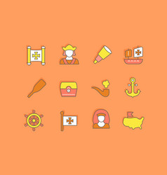 set simple line icons columbus day vector image