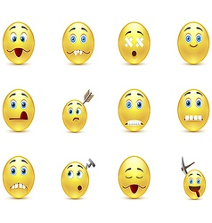Set unhealthy funny smiles vector