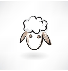 Sheep head grunge icon vector