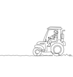 single one line drawing young female farmer vector image