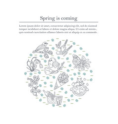 spring thin line card vector image