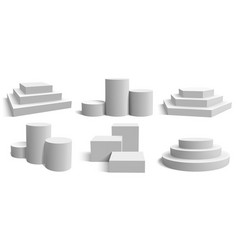 stage podium platforms realistic white square and vector image