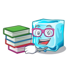 Student with book ice cubes on the cartoon funny vector