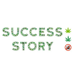 Success story caption collage of cannabis vector