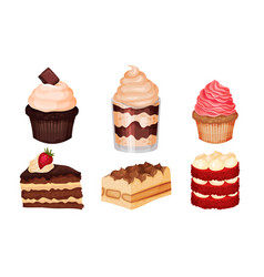 Sweet layered desserts and cakes with whipped vector