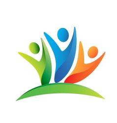 Teamwork happy people logo vector image