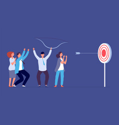 teamwork success metaphor target goal focus and vector image