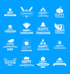 Thanksgiving day logo set simple style vector