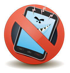 Unhealthy mobile phone with harmful waves vector
