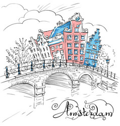 view amsterdam canal and bridge vector image