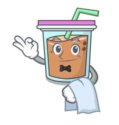 Waiter bubble tea mascot cartoon vector