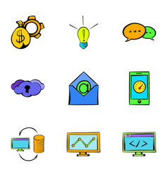 web icons set cartoon style vector image