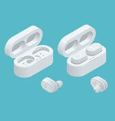 white wireless earphones and case isolated on a vector image