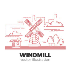 windmill lineart vector image