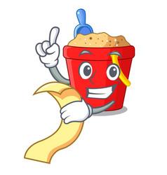 With menu picture beach bucket on shovel cartoon vector