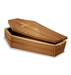 wood coffin with christian cross vector image
