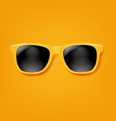 yellow sunglasses with orange background vector image