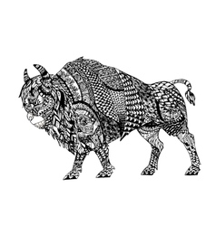 Zentangle stylized Black Bison vector