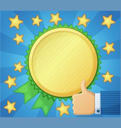best choice symbol golden award icon thumb up vector image