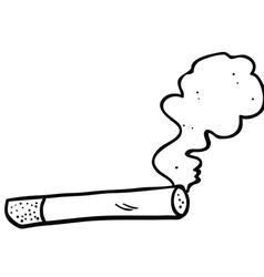 black and white cartoon smoking cigarette vector image vector image