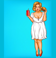 fat obese blonde woman obesity from fast vector image