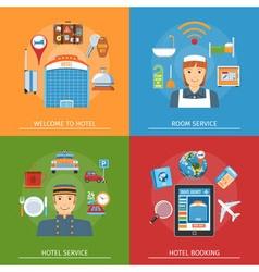 Hotel Flat Horizontal Concepts Set vector image