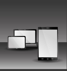 laptop tablet and laptop technology gadgets with vector image