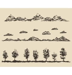 mountains contours clouds forest sketch vector image vector image