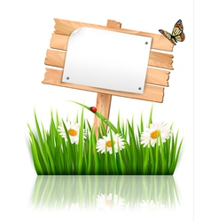 Nature background with grass and sign and a paper vector