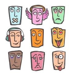 Sketch emoticons colored set vector image