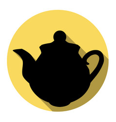 tea maker sign flat black icon with flat vector image