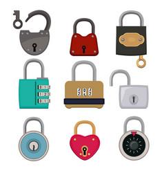 colored icon set of padlocks vector image