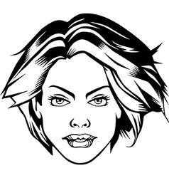 Comic heroine girl face sexy female vector image