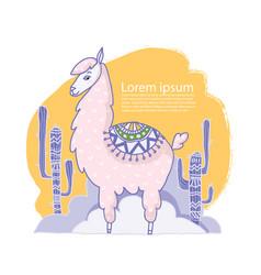 cute cartoon lama alpaca hand drawn vector image vector image