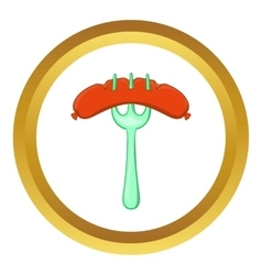 Grilled sausage on a fork icon vector