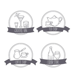 Hand drawn different beverage icon logos Doodle vector image