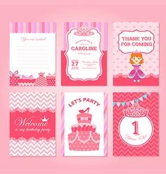 Princess Birthday Party Invitation Template vector image