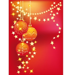 red christmas background with christmas tree balls vector image