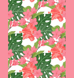 seamless pattern with exotic flowers and leaves vector image