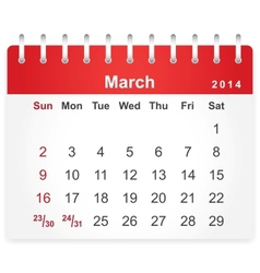 Stylish calendar page for March 2014 vector image vector image