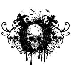 abstract background and three skulls vector image vector image