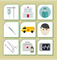 ambulance icons medicine health emergency vector image