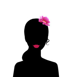 black silhouette beautiful woman with hair vector image