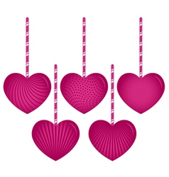 Five Hanging Hearts vector image vector image