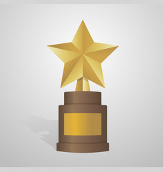 Golden star award on brown base gold trophy vector