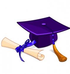 graduation cap and diploma vector image vector image