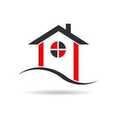 House with circle window logo vector image vector image