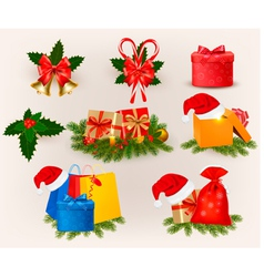 Set of christmas icons and elements vector image vector image