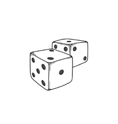 Two white cartoon-style dice cubes vector image vector image